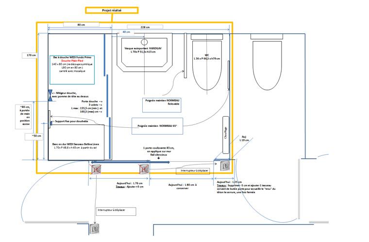 Plan de la nouvelle salle de bain pour personne a mobilité réduite, dessiné par les propriétaires