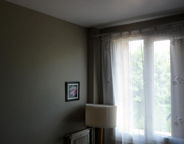 Chambre lumineuse et cosy : peinture blanche satinée au plafond tranche avec les murs plus sombres.